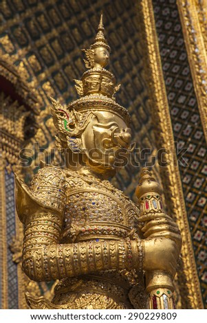 Decoration at the The Emerald Buddha Temple Wat Phrakaew Bangkok Thailand