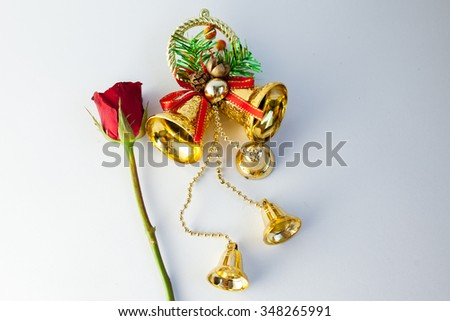decoration bell and rose for christmas party and happy new year