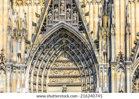 decoration elements at the main gate of the dome in Cologne, Germany - stock photo