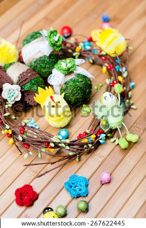 Decoration elements on wooden copy space background - stock photo