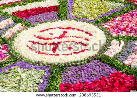 Decoration for the Feast of Corpus Christi - a traditional flower carpet - stock photo