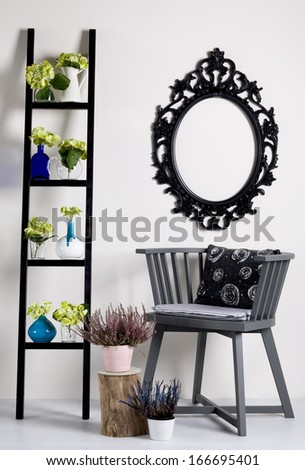 Decoration ideas ladder as a shelf - stock photo