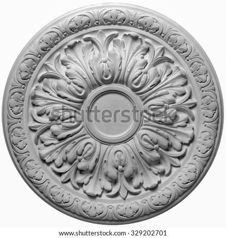 decoration item made of white plaster. relief stucco interior                       - stock photo