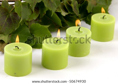Decoration-ivy and green candle
