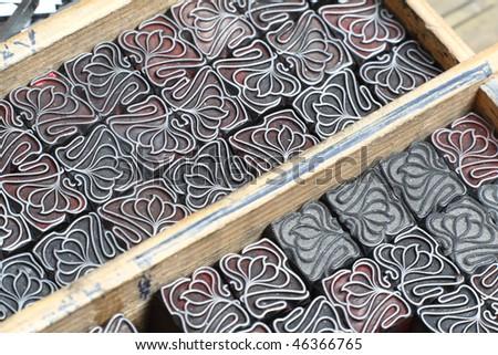 Decoration letterpress type close up - stock photo