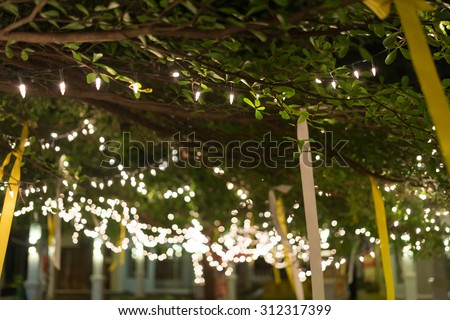 decoration light christmas celebration hanging on tree, abstract image blurred defocused background - stock photo