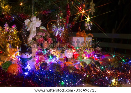 Decoration merry christmas and happy new year on night (select focus style)