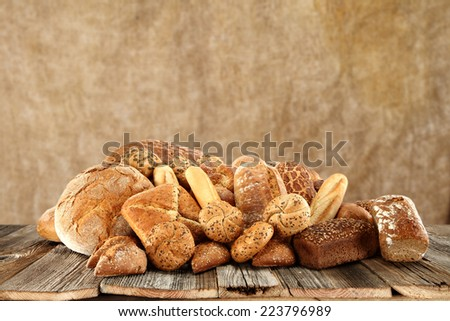 decoration of bread and brown space