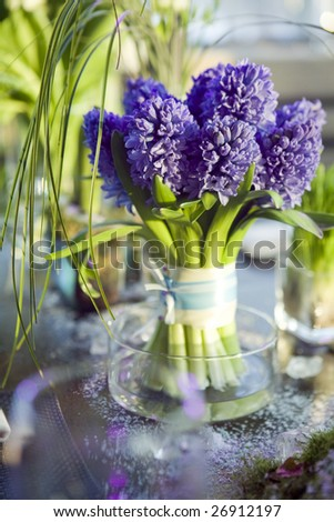 decoration of dining table.  bouquet of  hyacinth in vase of glass. - stock photo