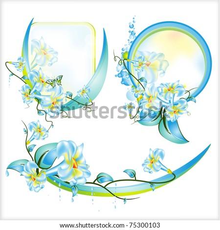 Decoration Flowers Leaves Frames Cards Stock Illustration 75300103 ...