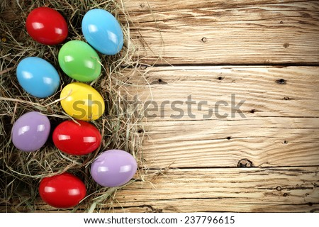 decoration of fresh eggs in easter time  - stock photo