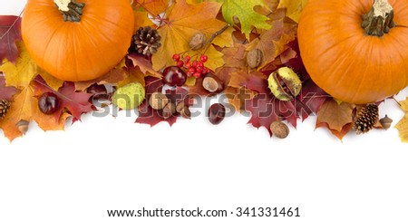 Decoration of pumpkins for thanksgiving day with autumn leaves on white background view from above