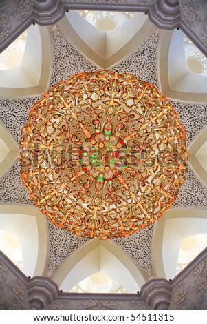 Decoration of Sheikh Zayed Mosque. Abu Dhabi, United Arab Emirates - stock photo