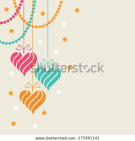 Decoration of swirl heart shapes. Original valentines, wedding design element. Decorative illustration for print, web - stock photo