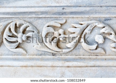decoration of the rest of the marble ruins of ancient city Side - stock photo