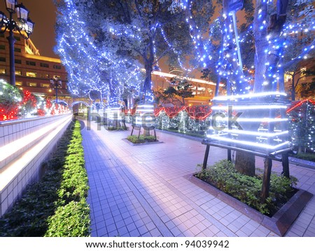Decoration of trees at night - stock photo