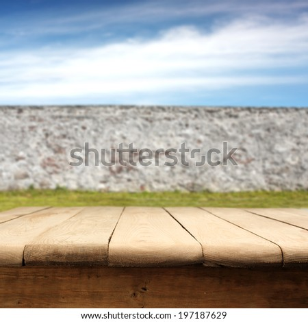decoration of wall and table in garden  - stock photo