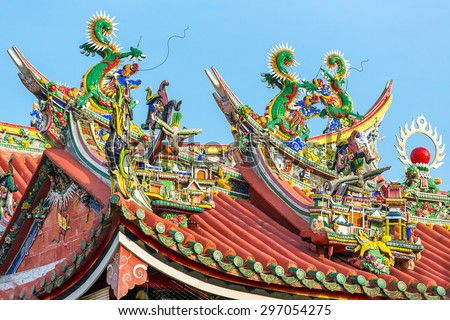Decoration on the roof of Kuan Yin Temple, Penang, Malaysia - stock photo