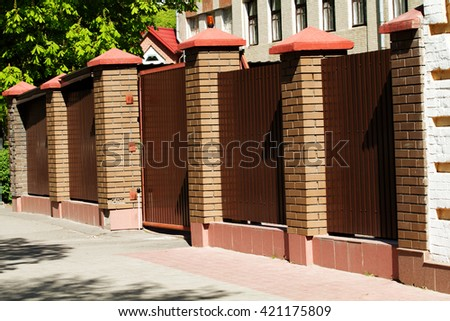decoration outdoor, fence with brick columns