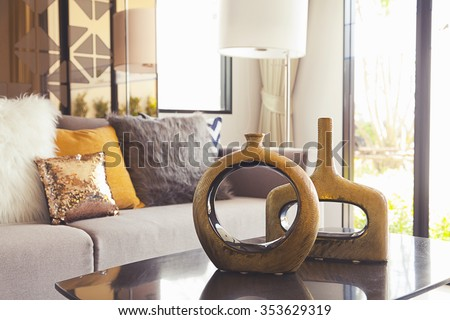decoration vase on the table in living room