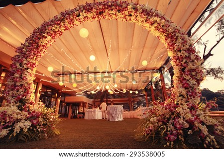 decoration wedding flower arch night - stock photo