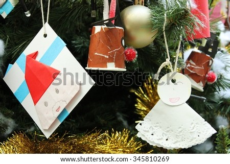 Decoration with blank space on Christmas tree for Xmas and New year festival