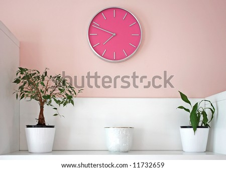 decoration with pink wall clock