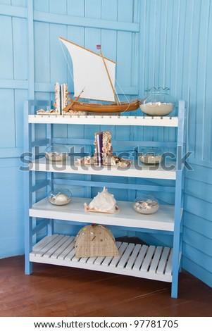 decoration with shellfish, beach style decoration - stock photo