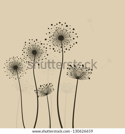 Decoration with  stylized dandelions - stock photo