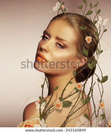 Decoration. Young Sensual Woman with Flowers - stock photo