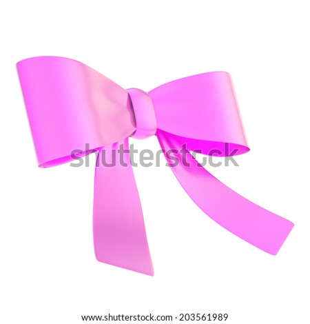 Decorational magenta glossy ribbon bow isolated over white background - stock photo