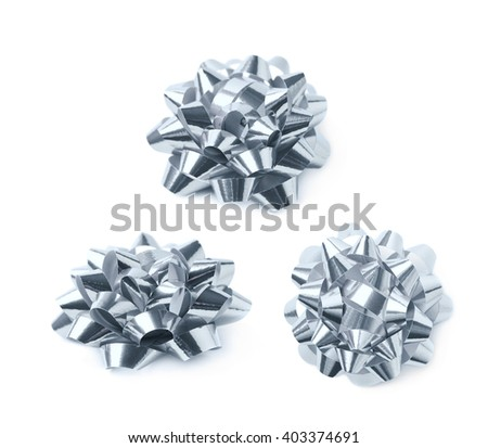 Decorational silver ribbon gift bow isolated over the white background, set collection of three diffirent foreshortenings - stock photo