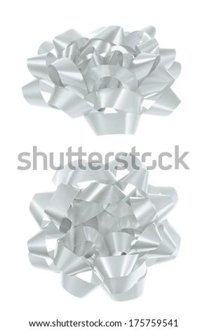 Decorational white bow isolated over white background, set of two foreshortenings - stock photo