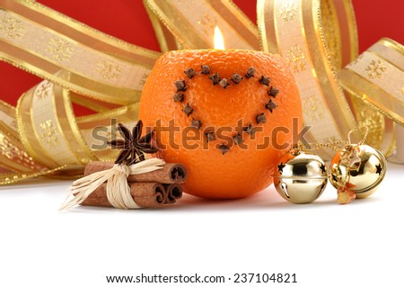 Decorations Christmas and oranges candle