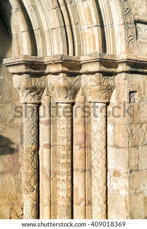 Decorations detail of an entrance  of Santiago Church of Coimbra, Portugal - stock photo