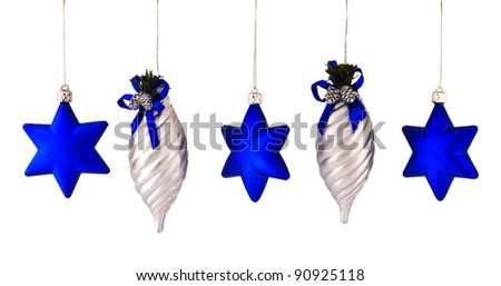 decorations for Christmas trees and stars shyshki - stock photo