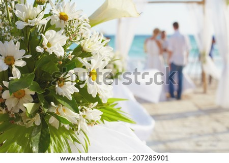 Decorations for wedding ceremony on Boracay island beach - stock photo