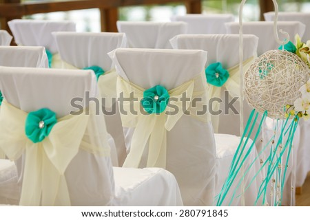 Decorations tropical wedding, stylish marriage ceremony at ocean, bridal day decorations, luxury, soft focus selective , series
