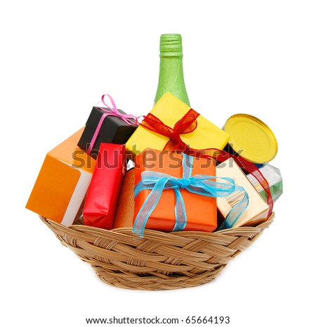 Decorative a gift basket - stock photo