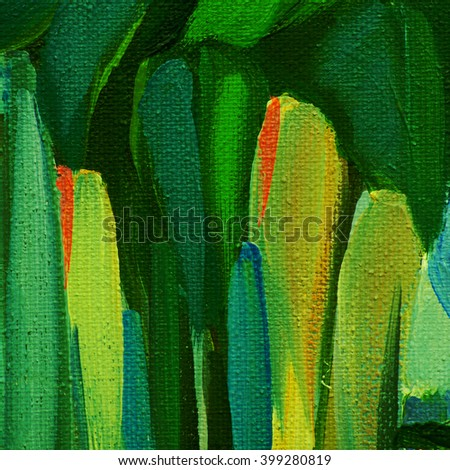 decorative abstract painting by oil on a canvas for interior on a theme nature - stock photo