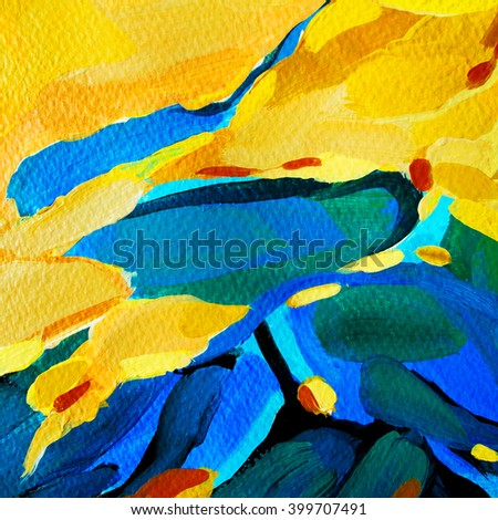 decorative abstract painting, illustration - stock photo