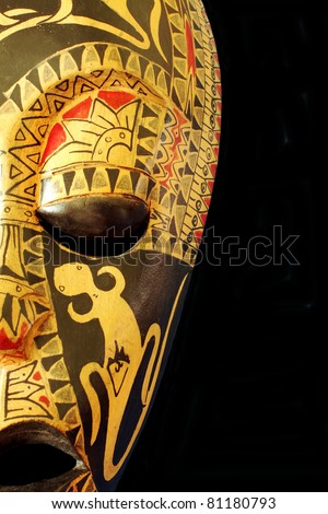 Decorative African or Aboriginal Mask On Black
