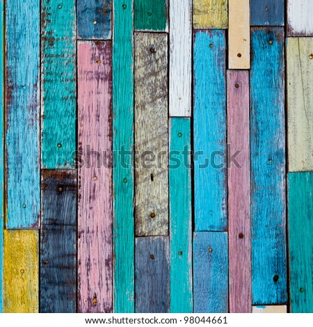 Decorative and colorful wood wall