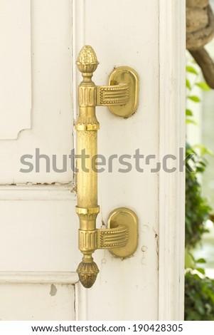 Decorative antique door handle - stock photo