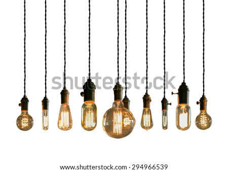 Decorative antique edison style filament light bulbs - stock photo
