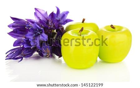 Decorative aroma candles isolated on white - stock photo