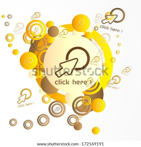 decorative art click here sign in front of a happ party art background with flying click here icons isolated on white background