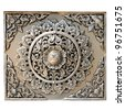 Decorative Art of Lanna Thai : Engraving of the silver value. - stock photo