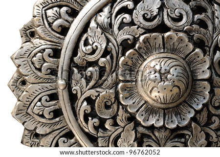 Decorative Art of Lanna Thai. Engraving of the silver value. - stock photo
