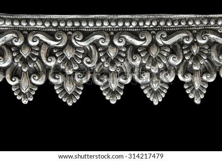 Decorative Art of Lanna Thai. Silver engraving. - stock photo